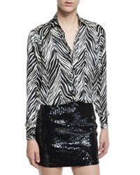 Saint Laurent Zebra Print Silk Blouse Black White Black White