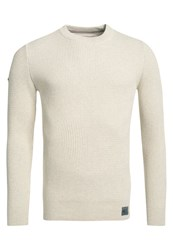 Superdry University Waffle Crew Jumper Cream