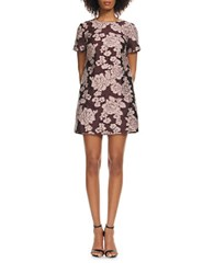 Cynthia Rowley Short Sleeve Jacquard Shift Dress Pink Burgundy