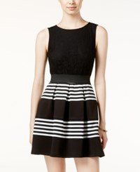 Speechless Juniors' Striped Lace Fit And Flare Dress Black White