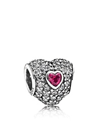 Pandora Design Pandora Charm Sterling Silver Cubic Zirconia And Corundum In My Heart Moments Collection Red Clear Silver