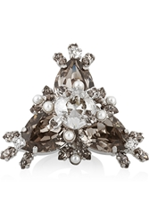 Givenchy Cocktail Ring In Palladium Tone Brass Crystal And Faux Pearl