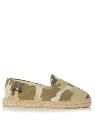 Manebi Dakar Camouflage Print Cotton Canvas Espadrilles Green Multi
