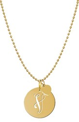 Women's Jane Basch Designs Personalized Script Initial Disc Pendant Necklace Gold V