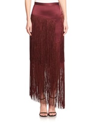 Tamara Mellon Silk Layered Fringe Maxi Skirt Burgundy Black