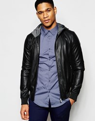 Armani Jeans Jacket In Perforated Faux Leather Black