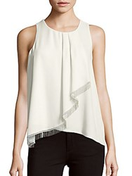 Laundry By Shelli Segal Roundneck Sleeveless Ruffled Top Warm White