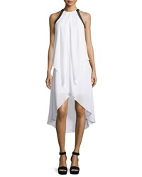Neiman Marcus Contrast Trim Draped Halter Dress White Black