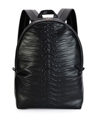 Alexander Mcqueen Ribcage Embossed Leather Backpack Black