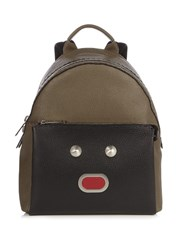 Fendi Selleria Faces Leather Backpack Black Multi