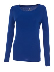 Lands' End Ribbed Cling Free Crew Neck T Shirt Sapphire