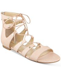 Ivanka Trump Callie Lace Up Flat Sandals Women's Shoes Light Nude Leather