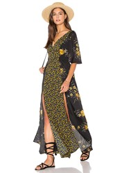 Band Of Gypsies V Neck Short Sleeve Floral Maxi Dress Black