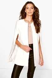 Boohoo Wool Look Cape Coat Cream