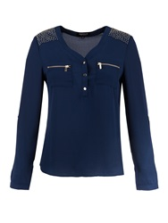 Morgan Blouse Style Studded Shoulder Top Navy