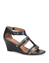 Sofft Pippa Black Leather Wedge Sandals