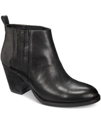 Nine West Fiffi Double Gore Block Heel Booties Women's Shoes Black Leather