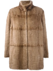 Liska Striped Coat Nude And Neutrals