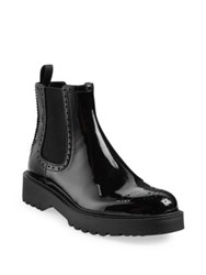 Prada Patent Leather Brogue Chelsea Boots Black