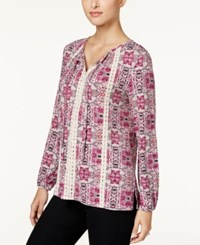 Styleandco. Style Co. Printed Lace Trim Top Only At Macy's Magenta Blossom