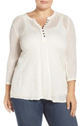 Lucky Brand Plus Size Women's Embroidered Yoke Mixed Media Henley Top Whisper White