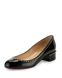 Christian Louboutin Treliliane Spike Low Heel Patent Red Sole Pump Black Women's
