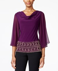 Msk Beaded Cowl Neck Blouse Plum