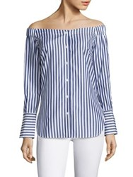Rag And Bone Kacy Off The Shoulder Tunic Navy White
