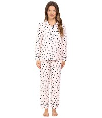 Kate Spade Packaged Flannel Pajama Set Shadow Dot Pastry Pink Women's Pajama Sets