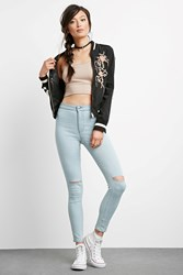 Forever 21 Light Wash Ripped Skinny Jeans