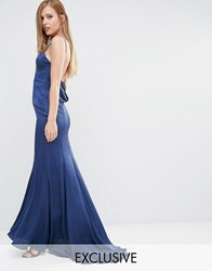 Fame And Partners Satin Slip Maxi Dress With Fishtail Midnight Navy