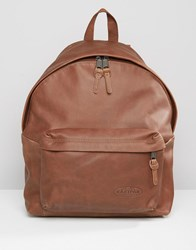 Eastpak Padded Pak'r Leather Backpack Brown