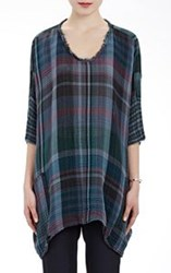 Raquel Allegra Washed Gauze Boxy Tunic Top Blue