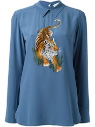 Stella Mccartney Tiger Embroidery Top Blue