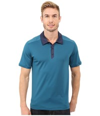 The North Face Short Sleeve Tek Hike Polo Blue Coral Cosmic Blue Men's Short Sleeve Knit