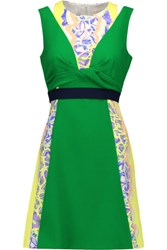 Peter Pilotto Tandem Printed Wool Blend Crepe Mini Dress Green