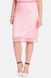 Eloquii Eyelet Lace Pencil Skirt Plus Size Pink