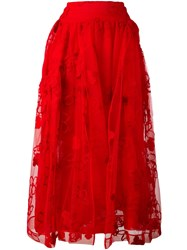 Simone Rocha Floral Embroidery Tulle Skirt Red