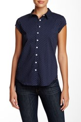 Susina Cap Sleeve Novelty Button Down Blouse Petite Blue