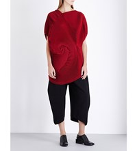 Issey Miyake Optical Pleated Wool Blend Tunic Top Red