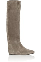 Lanvin Suede Wedge Knee Boots Gray