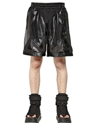Ktz Techno Mesh And Faux Leather Shorts Black