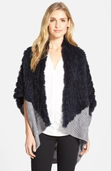 La Fiorentina Genuine Rabbit Fur And Knit Cocoon Cardigan Online Only Navy Grey