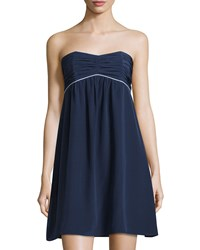 Sail To Sable Strapless Pleated Empire Dress Navy