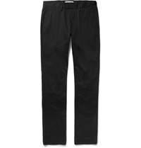 Acne Studios Max Satin Slim Fit Cotton Blend Twill Trousers Black