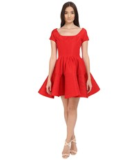 Zac Posen Short Sleeve Boat Neck Fit And Flare Dress Grenadine Women's Dress Red