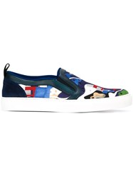 Msgm Abstract Print Slip On Sneakers Blue
