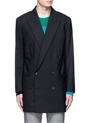 Paul Smith Oversized Peak Lapel Double Breasted Wool Blazer Black