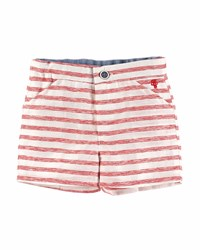 Pili Carrera Striped Linen Shorts Red Ivory