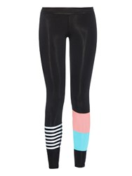 Salt Gypsy Striped And Colour Block Performance Leggings Black Multi